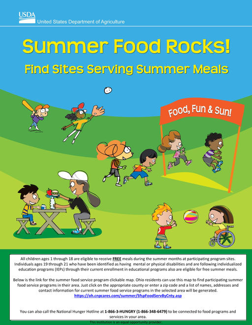 Find sites serving free summer meals