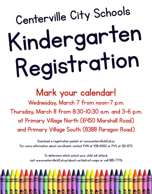 Centerville City Schools announces kindergarten registration dates