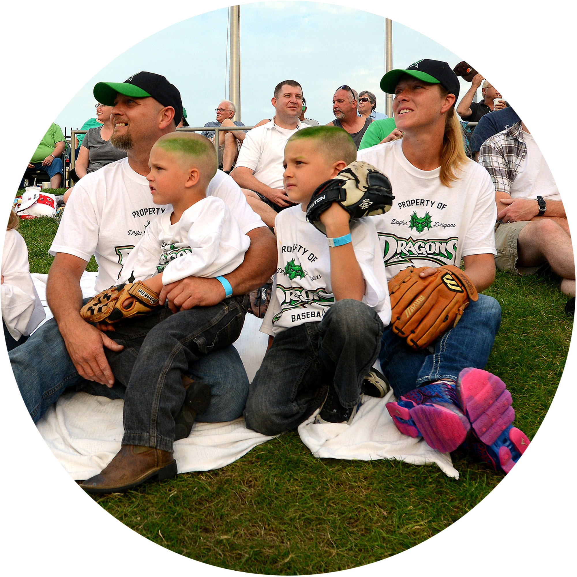 Image of family at Dayton Dragons baseball game