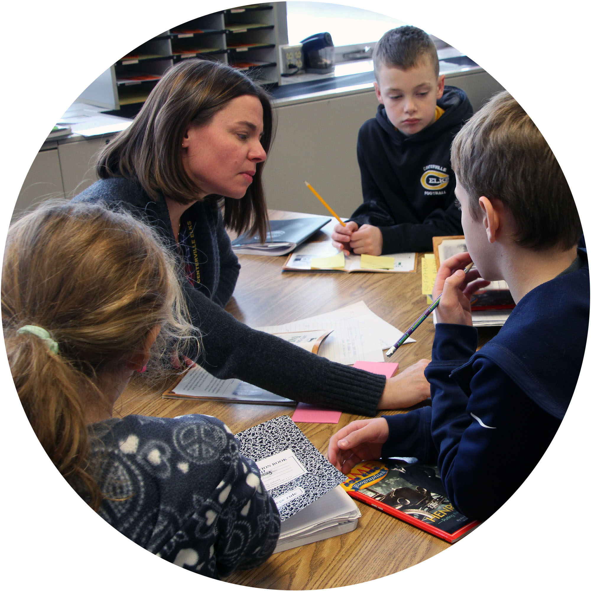 Image of teacher working with small group of students