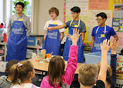 Image of high school Chem Buddies teaching elementary students